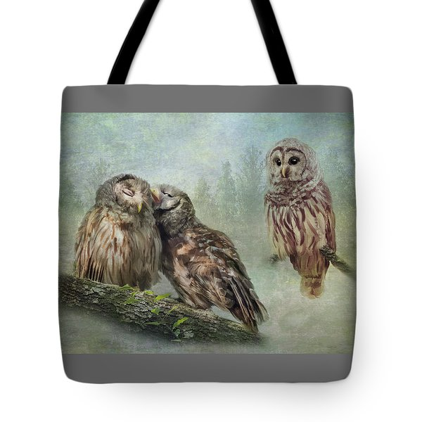 Tote Bag featuring the photograph Barred Owls - Steal A Kiss by Patti Deters