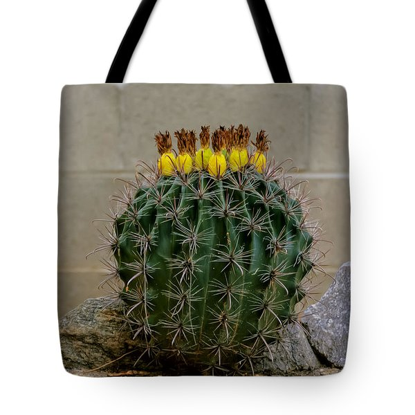 Tote Bag featuring the photograph Barrel Against Wall No50 by Mark Myhaver