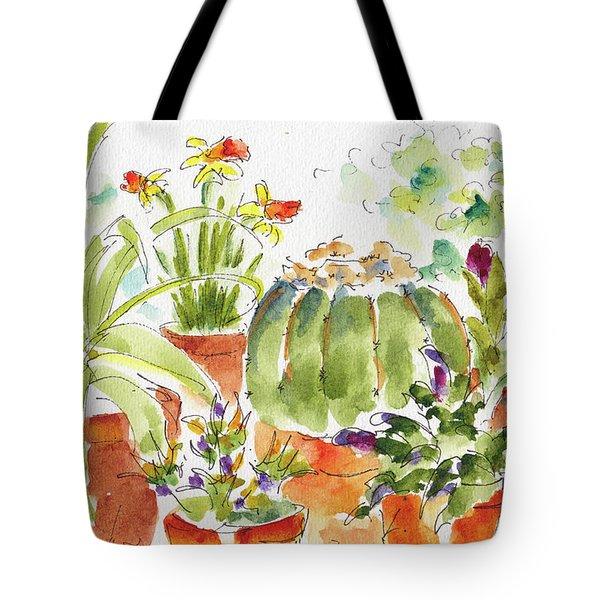 Barrel Cactus And His Buddies Tote Bag by Pat Katz