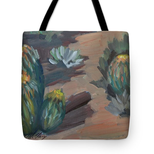 Tote Bag featuring the painting Barrel Cactus At Tortilla Flat by Diane McClary
