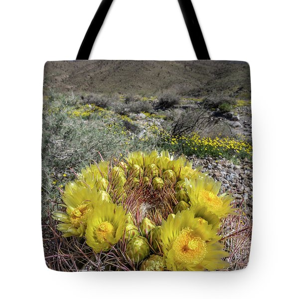 Tote Bag featuring the photograph Barrel Cactus Super Bloom by Peter Tellone
