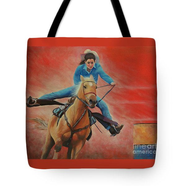 Barrel Racing Tote Bag by Jeanette French