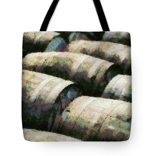 Tote Bag featuring the painting Barrels Of Life by Sir Josef - Social Critic - ART
