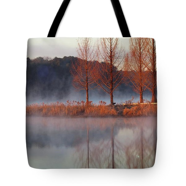 Tote Bag featuring the digital art Barren, Beautiful Trees by Kathleen Illes