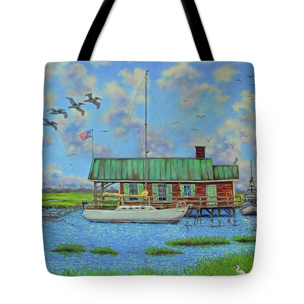 Barriar Island Boathouse Tote Bag by Dwain Ray