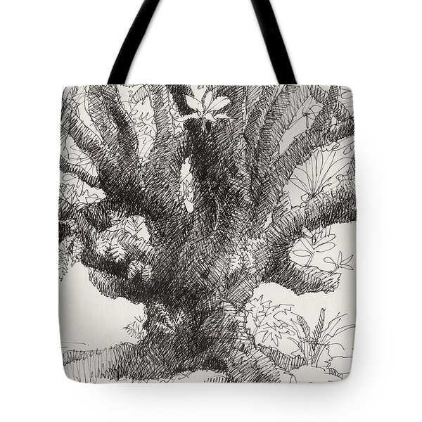 Tote Bag featuring the drawing Barringtonia Tree by Judith Kunzle