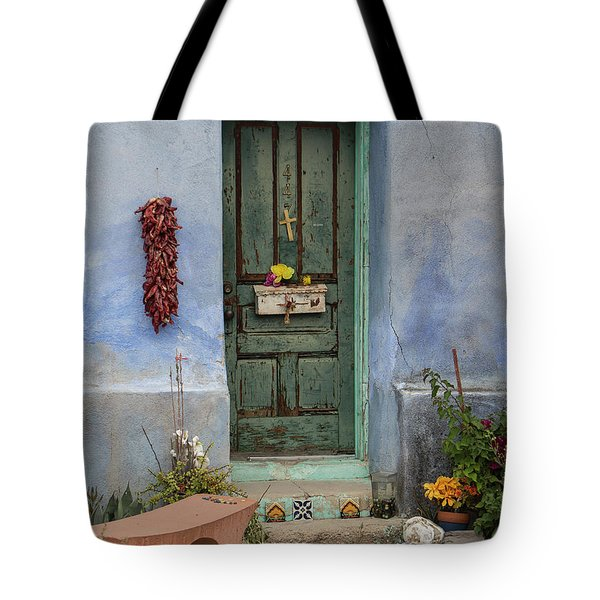 Tote Bag featuring the photograph Barrio Door by Teresa Wilson