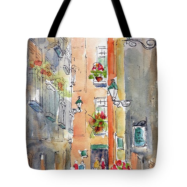 Tote Bag featuring the painting Barrio Gotico Barcelona by Pat Katz