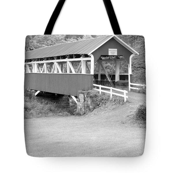 Barron's Covere Bridge In Black And White Tote Bag