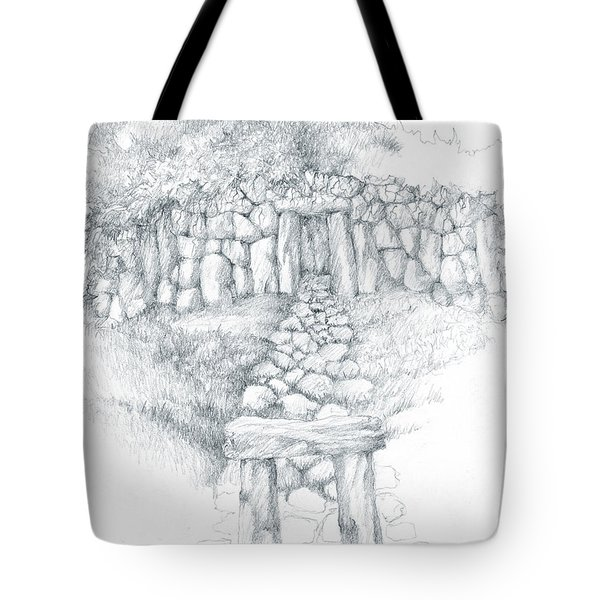 Tote Bag featuring the drawing Barrow Tomb by Curtiss Shaffer
