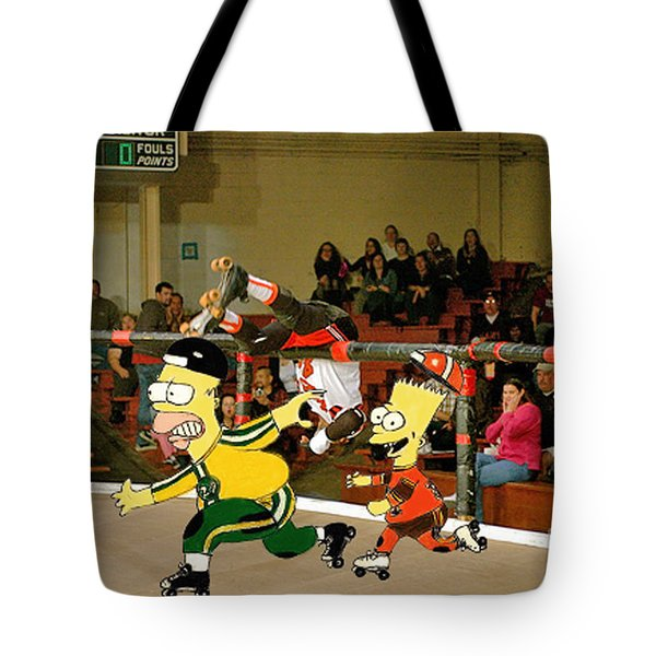 Bart Vs Homer Simpson At The Roller Derby Tote Bag