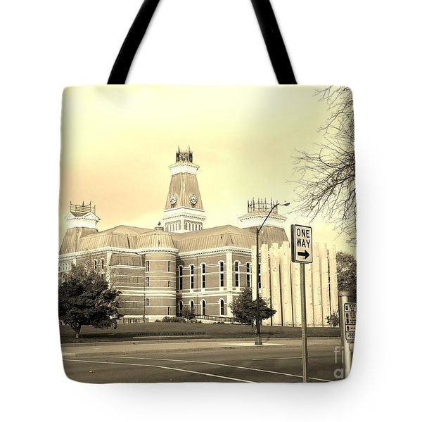 Bartholomew County Courthouse Columbus Indiana - Sepia Tote Bag