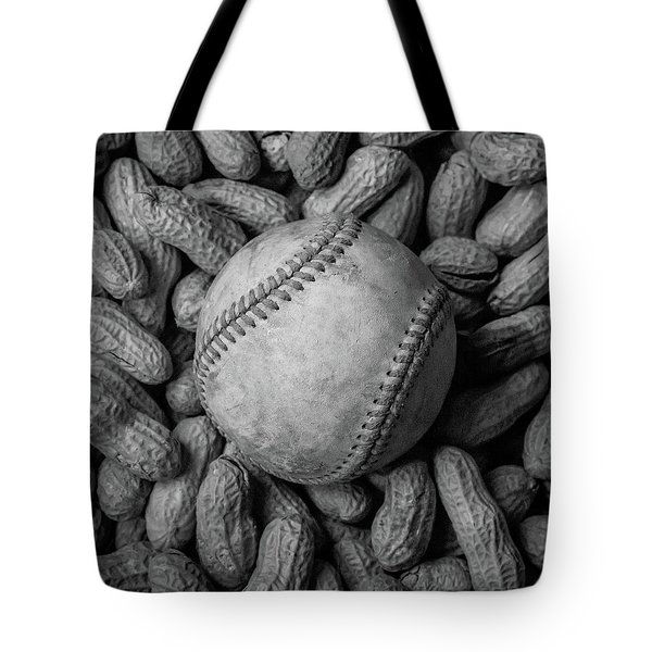 Tote Bag featuring the photograph Baseball And Peanuts Black And White Square  by Terry DeLuco
