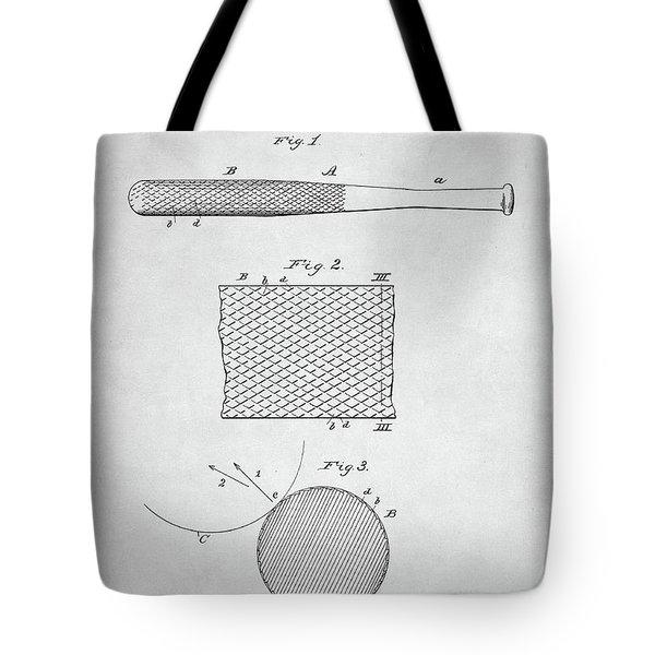 Baseball Bat Patent Tote Bag
