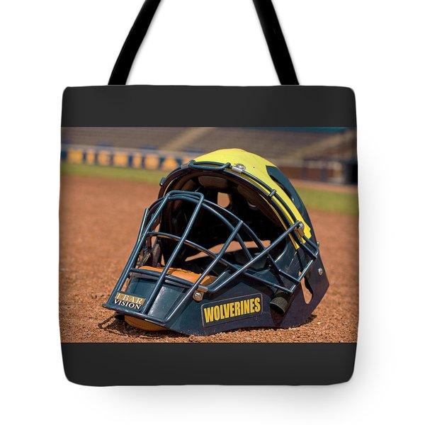 Baseball Catcher Helmet Tote Bag