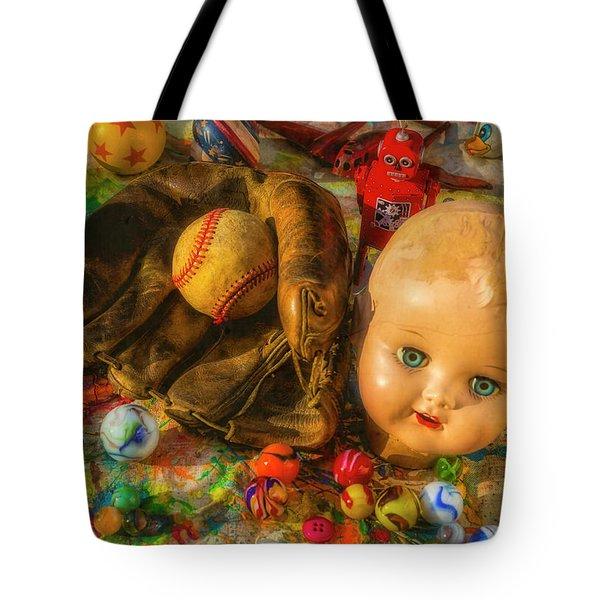 Baseball Glove And Dolls Head Tote Bag