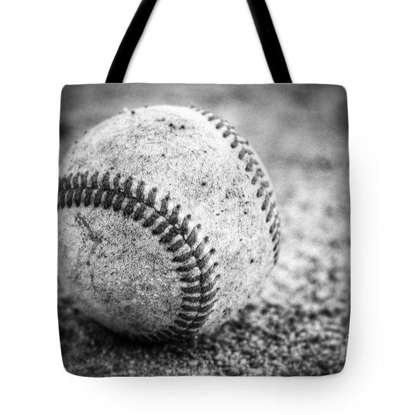 Baseball In Black And White Tote Bag