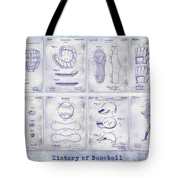 Baseball Patent History Blueprint Tote Bag