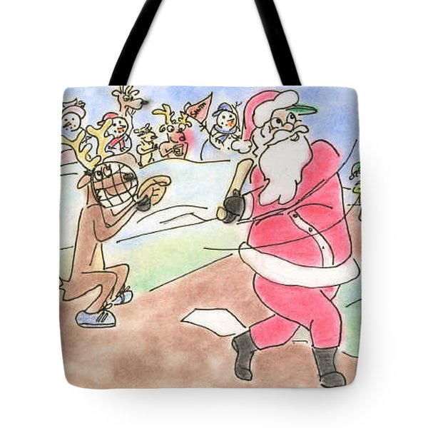 Baseball Santa Tote Bag by Vonda Lawson-Rosa
