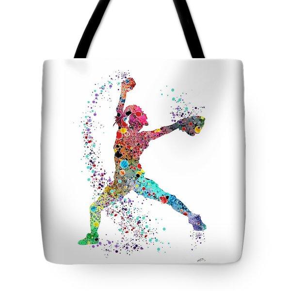 Baseball Softball Pitcher Watercolor Print Tote Bag