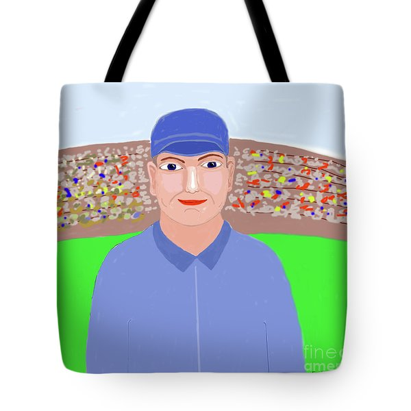 Baseball Star Portrait Tote Bag by Fred Jinkins