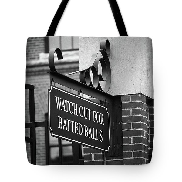 Baseball Warning Bw Tote Bag