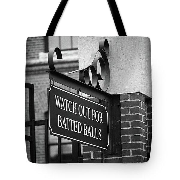 Baseball Warning Bw Tote Bag