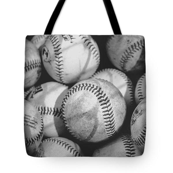 Baseballs In Black And White Tote Bag