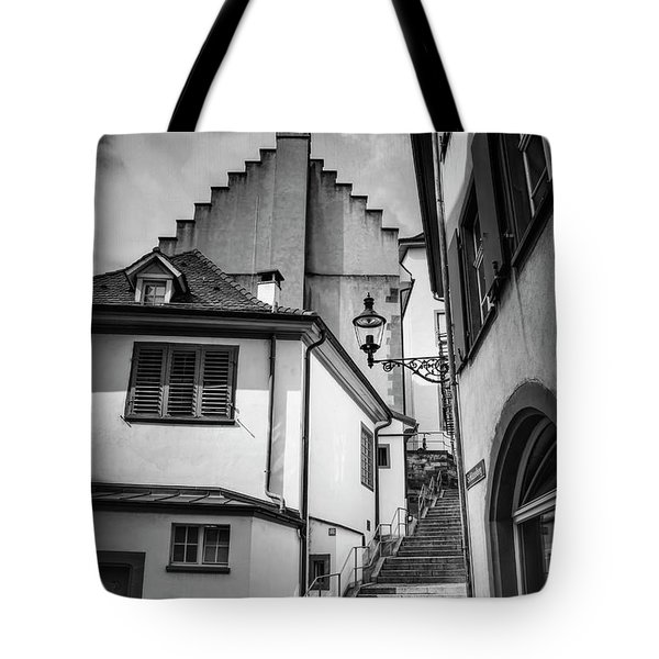 Basel Old Town In Black And White  Tote Bag
