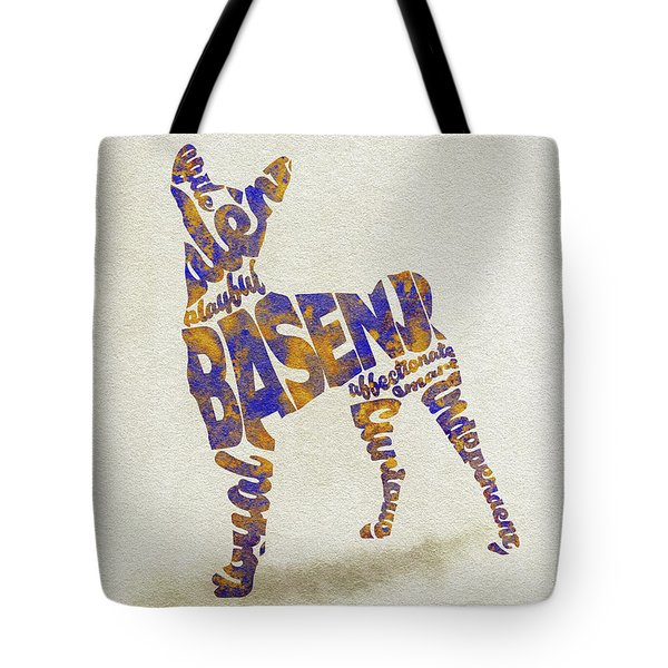 Tote Bag featuring the painting Basenji Dog Watercolor Painting / Typographic Art by Inspirowl Design