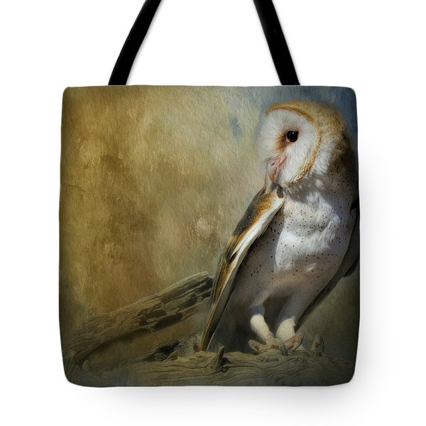 Tote Bag featuring the mixed media Bashful Barn Owl by Teresa Wilson
