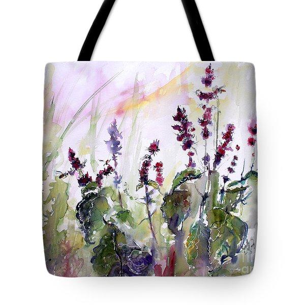 Basil Culinary Herb Watercolor Tote Bag
