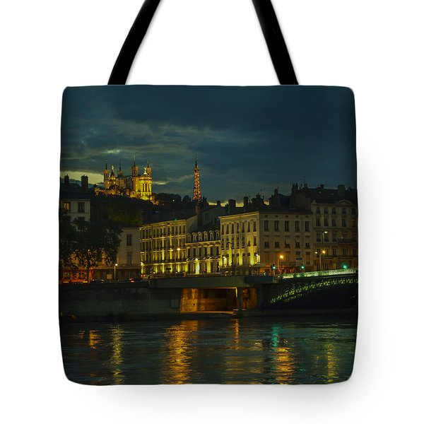 Basilica Notre Dame De Fourviere From Across The Rhone River Tote Bag by Allen Sheffield