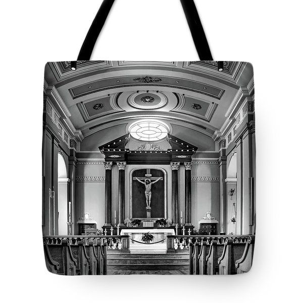 Tote Bag featuring the photograph Basilica Of Saint Louis King - Black And White by Nikolyn McDonald