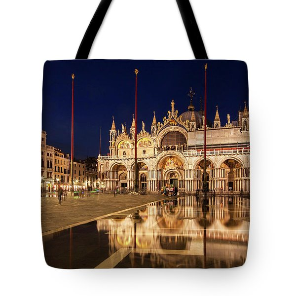 Basilica San Marco Reflections At Night - Venice, Italy Tote Bag