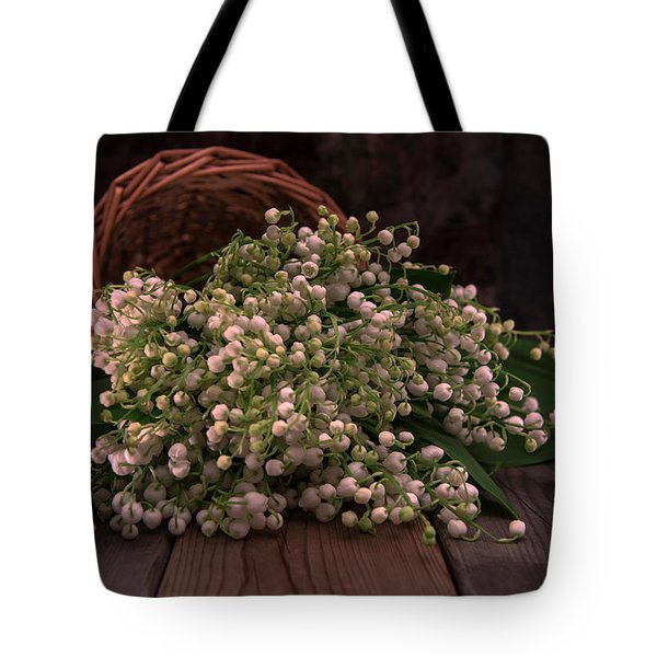 Tote Bag featuring the photograph Basket Of Fresh Lily Of The Valley Flowers by Jaroslaw Blaminsky