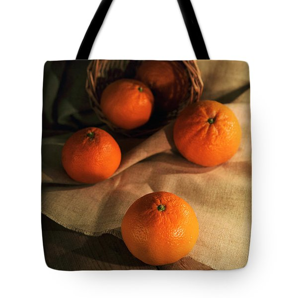 Tote Bag featuring the photograph Basket Of Fresh Tangerines by Jaroslaw Blaminsky