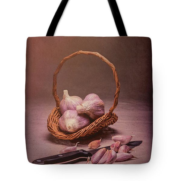 Basket Of Garlic Still Life Tote Bag