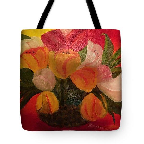 Basket Of Tulips Tote Bag