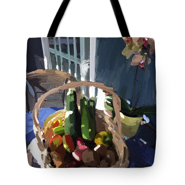 Basket Of Veggies And Orchid Tote Bag