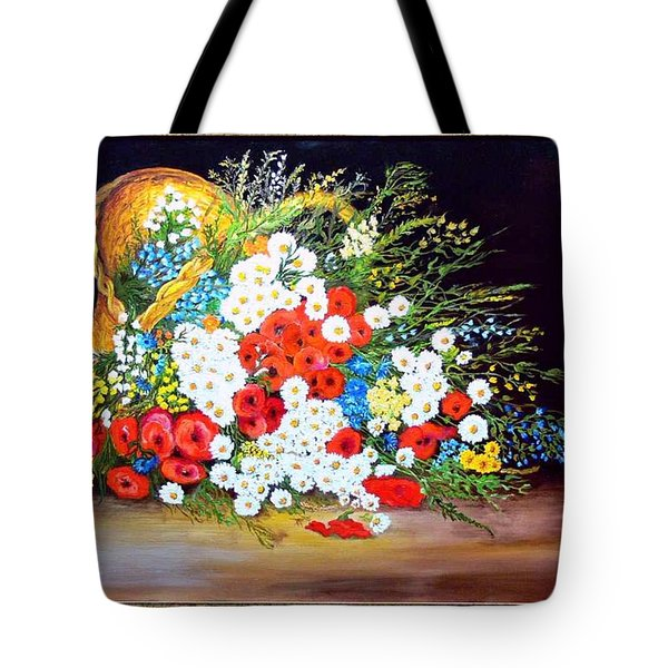 Basket With Summer Flowers Tote Bag by Helmut Rottler