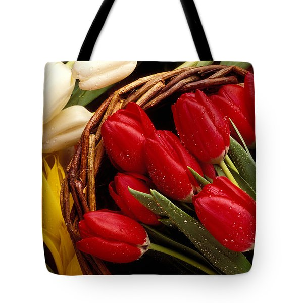 Basket With Tulips Tote Bag by Garry Gay