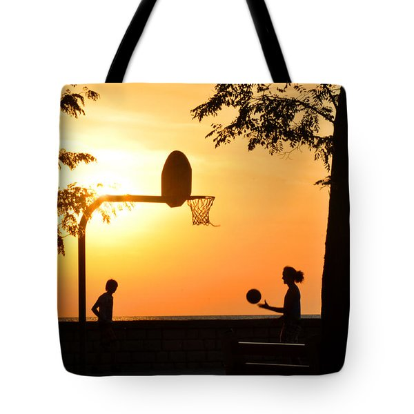 Basketball In Sunset Tote Bag by Diane Lent