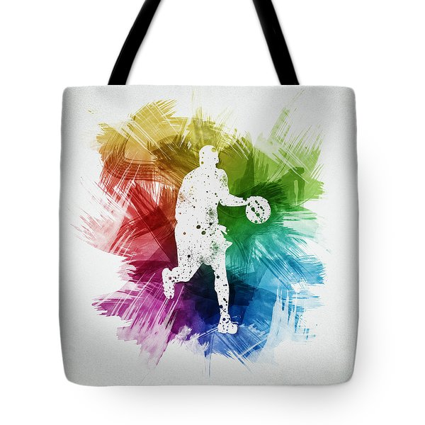 Basketball Player Art 16 Tote Bag by Aged Pixel