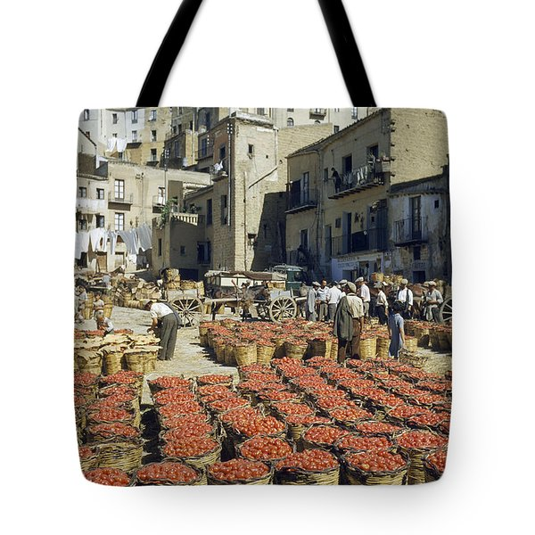 Baskets Filled With Tomatoes Stand Tote Bag by Luis Marden