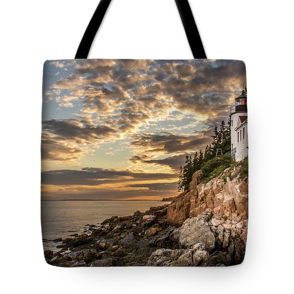 Bass Harbor Head Lighthouse Sunset Tote Bag