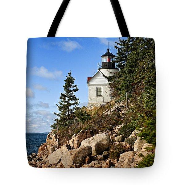 Bass Harbor Light Tote Bag by John Greim