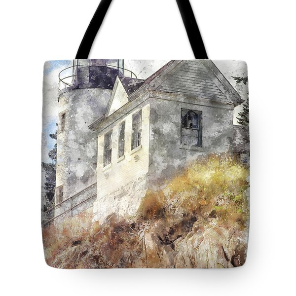 Bass Harbor Light Wc Tote Bag