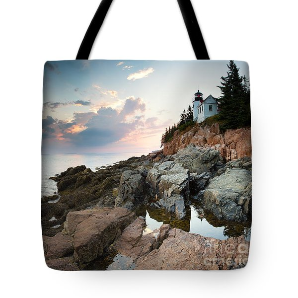 Bass Harbor Lighthouse At Dusk Tote Bag