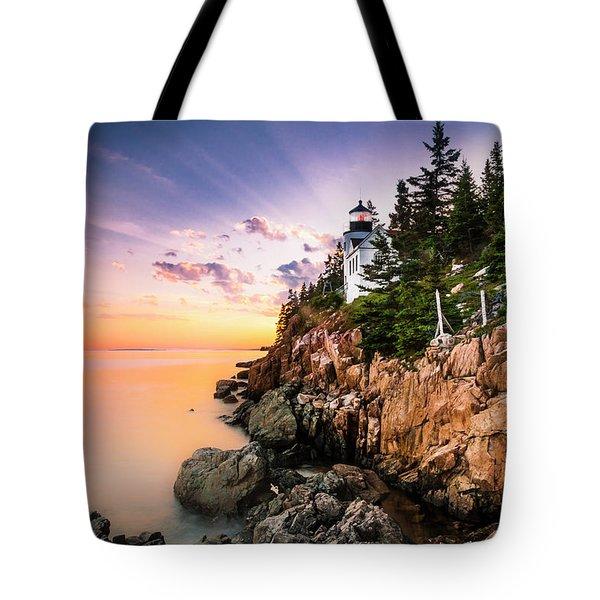 Bass Harbor Lighthouse Sunset Tote Bag